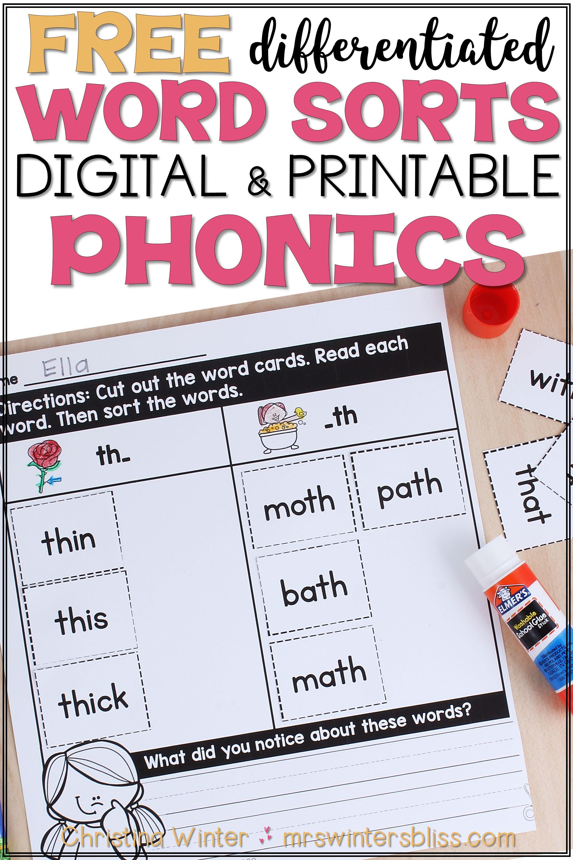 Free Word Sort Phonics Activities In
