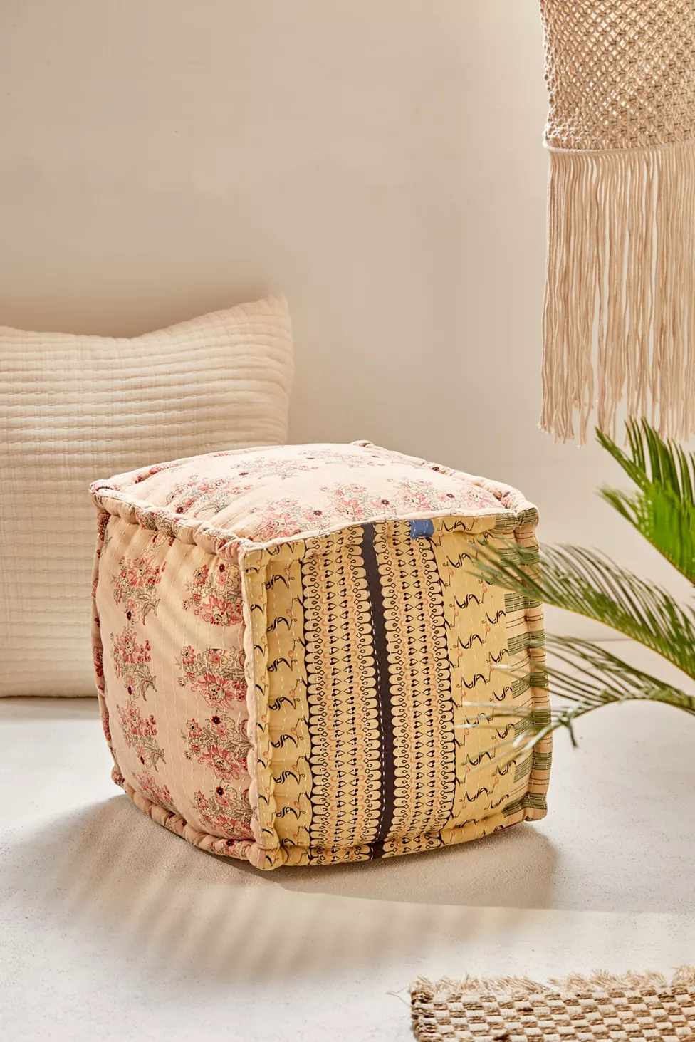 patchwork cube pouf daybed cushion