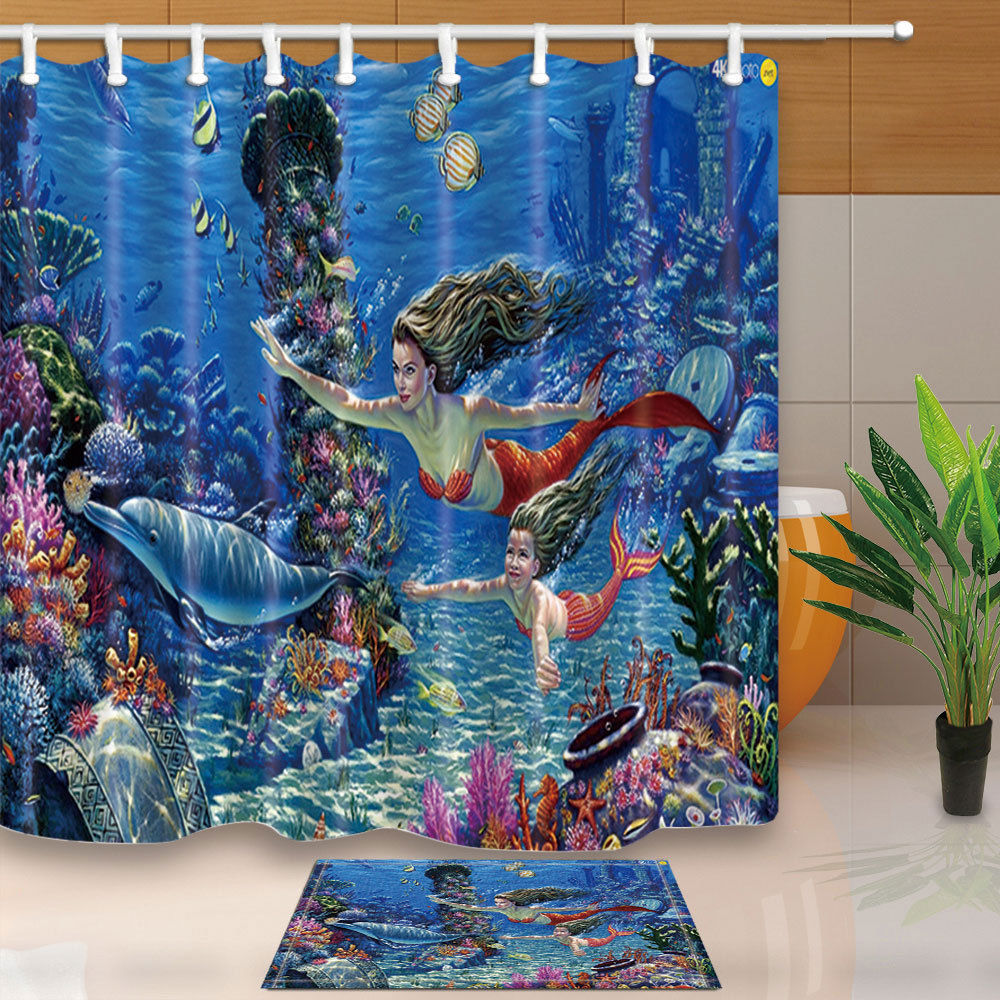 Mermaid and sea animals fabric shower curtain set with hooks