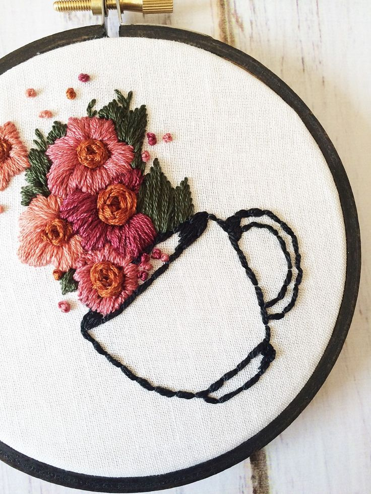 Coffee Lover Gift Coffee Signs For Kitchen Embroidery Hoop Art Hand Embroidery Coffee artwork Floral embroidery Rustic wall art embroidery