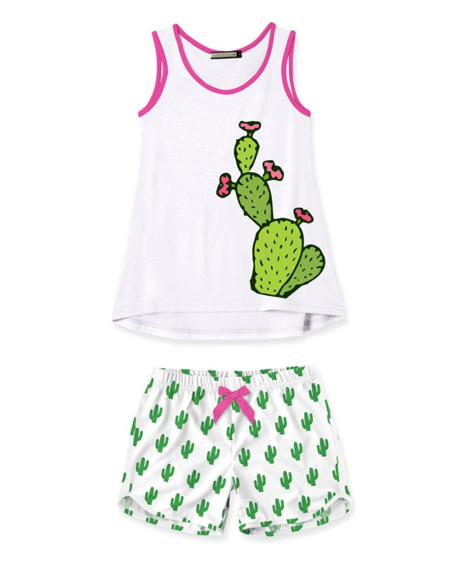 Take a look at this White & Green Cactus Tank & Shorts - Girls today!
