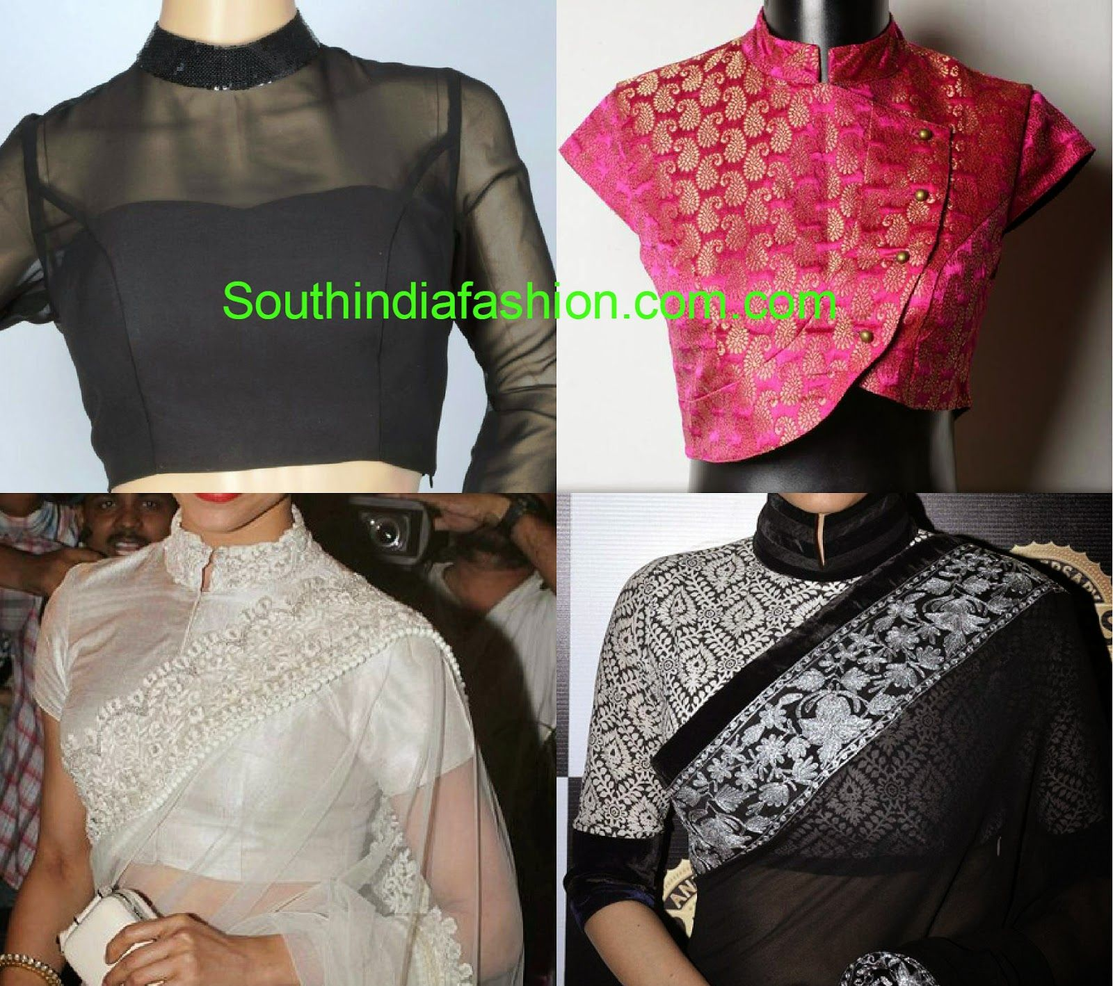 Stand Collar Blouse Designs : Stand collar neck saree blouse designs saree blouses