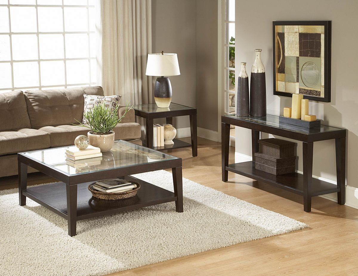 Vincent end table with glass insert glass