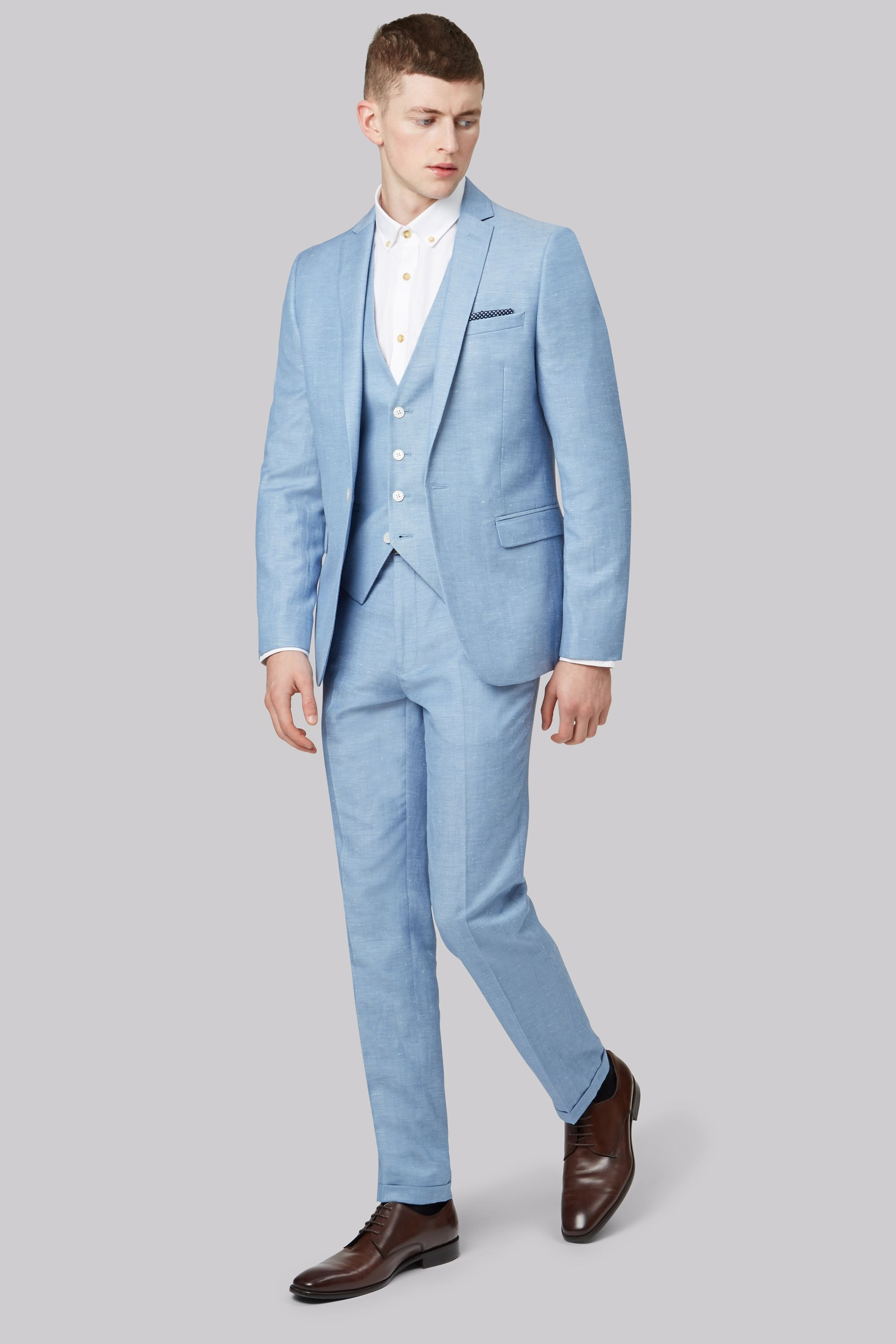 Moss London Slim Fit Sky Blue Linen Jacket | for the wedding ...