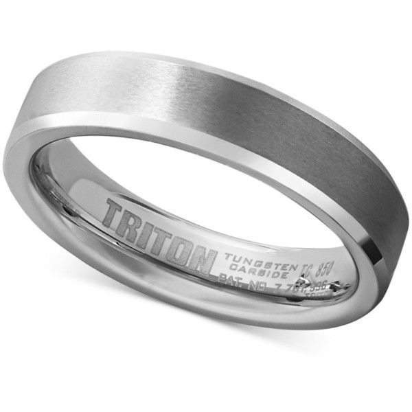 Triton Men's White Tungsten Carbide Ring, Wedding Band (5mm) ($350) ❤ liked on Polyvore featuring men's fashion, men's jewelry, men's rings, no color, mens white gold rings, mens white gold wedding rings, mens wedding rings, mens watches jewelry and mens rings