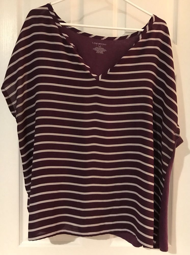 f7d1aadb2a8f08 Lane Bryant Women Purple Fashion Striped V-Neck Short Sleeve Shirt Size 18/20  #LaneBryant #Vneck #Casual