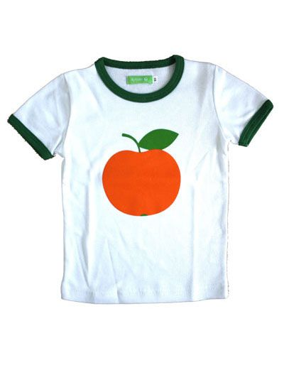 Retro wit Billy T-shirt met oranje sinaasappel - Lily Balou