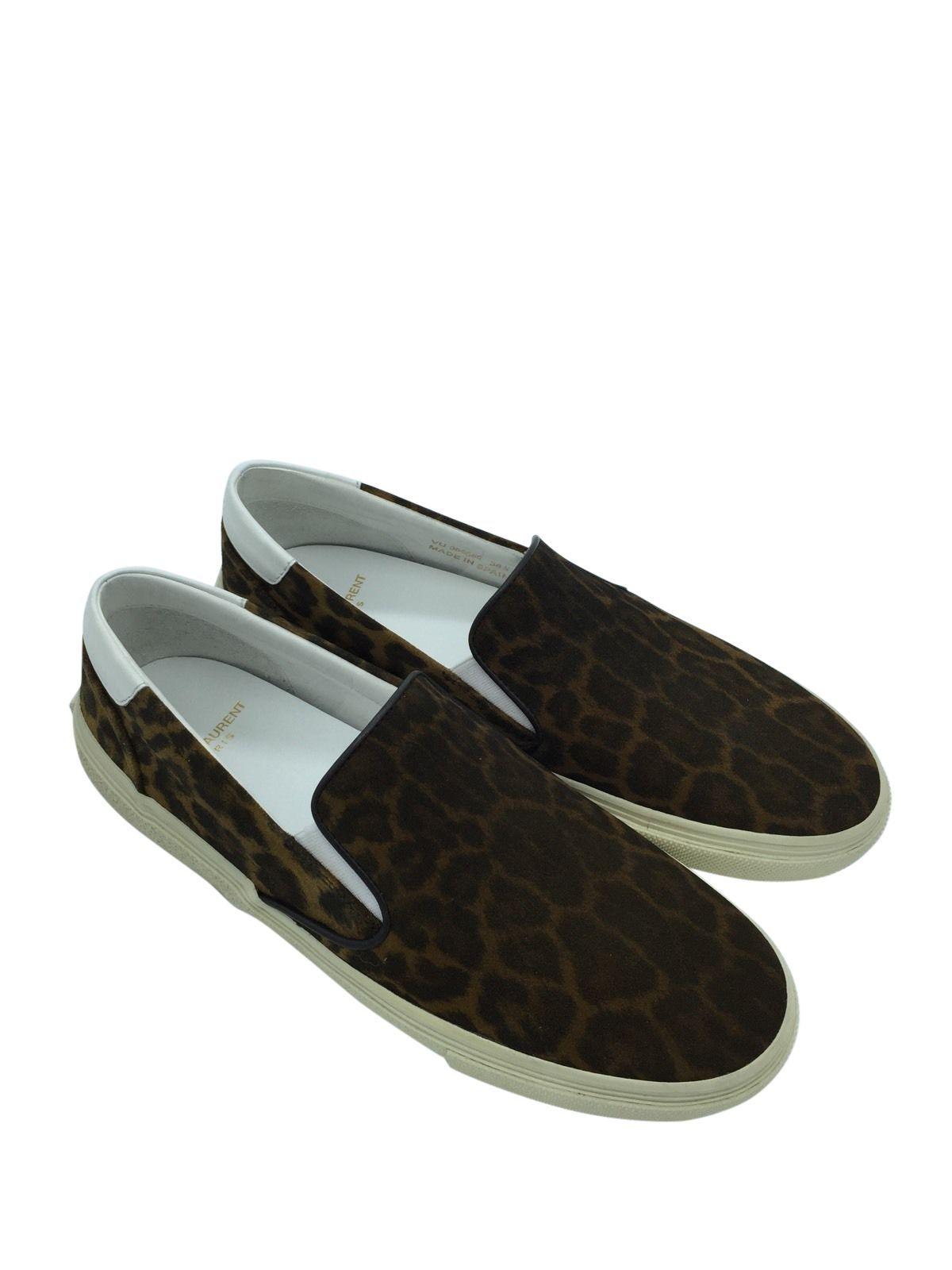 f8d3fa11 YSL SAINT LAURENT Womens Brown Leopard Print Suede 'skate 20' Slip ...