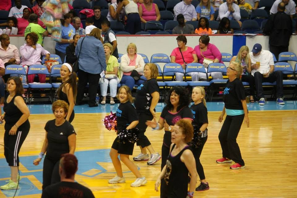 Dancing with The Zumba Team at Chicago Sky basketball game 8/23/13
