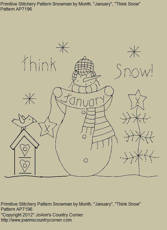 Primitive Stitchery E-Pattern Snowman by Month \