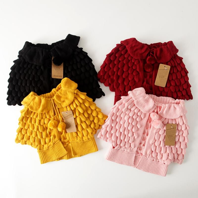 402cafc97ea Hot 2016 Kids Girls Knit puff cardigan baby girl Batwing poncho ...