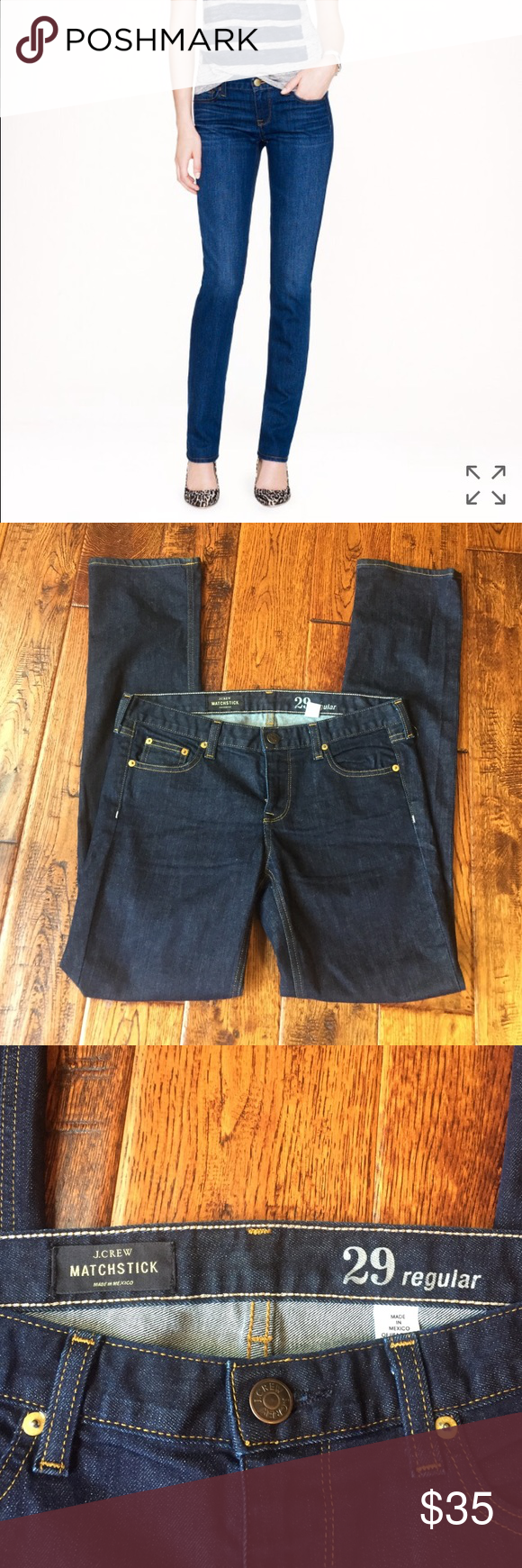 """Jcrew matchstick jeans in sutton wash Sits on hips. Slim through hip and thigh, with a slim, straight leg. 31"""" inseam. Excellent condition. Barely worn J. Crew Jeans"""
