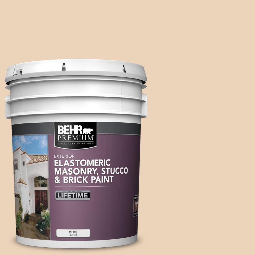 Behr Premium 5 Gal Ecc 52 1 Nevada Sand Elastomeric Masonry Stucco And Brick Exterior Paint Exterior Paint Stucco Homes Brick