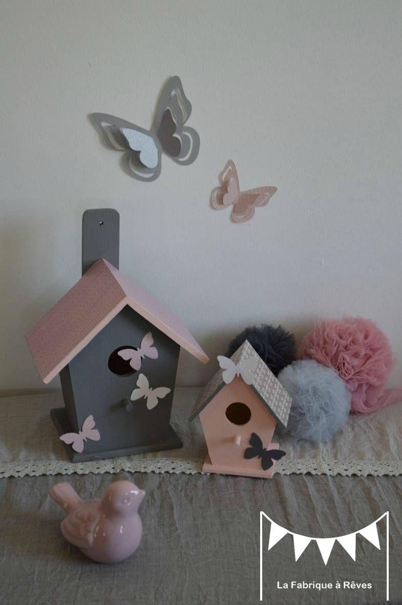 D coration chambre enfant b b nichoir oiseau maisonnette toiles gris blanc rose poudr - Objet deco rose poudre ...