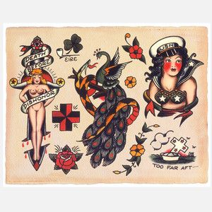 antique-repro nautical/pin-up tattoos click to see way more...