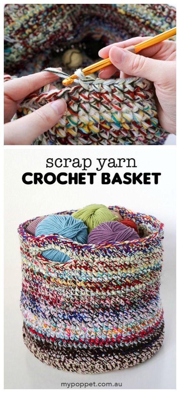 Scrap Yarn Basket Crochet Free Pattern