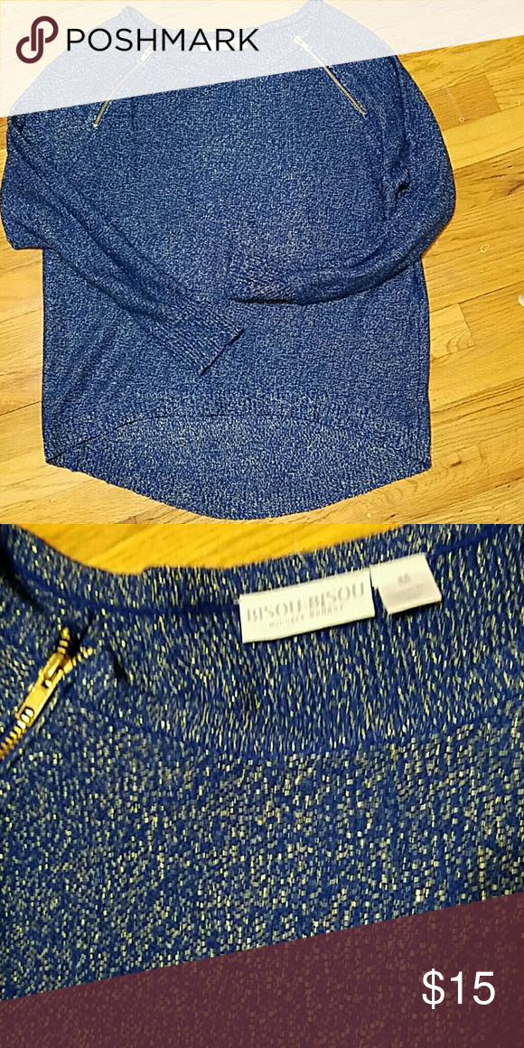 Twinkle Twinkle your a star! Glitzy blue sweater.  Trade for a night out.  In great condition. Bisou Bisou Sweaters Cardigans