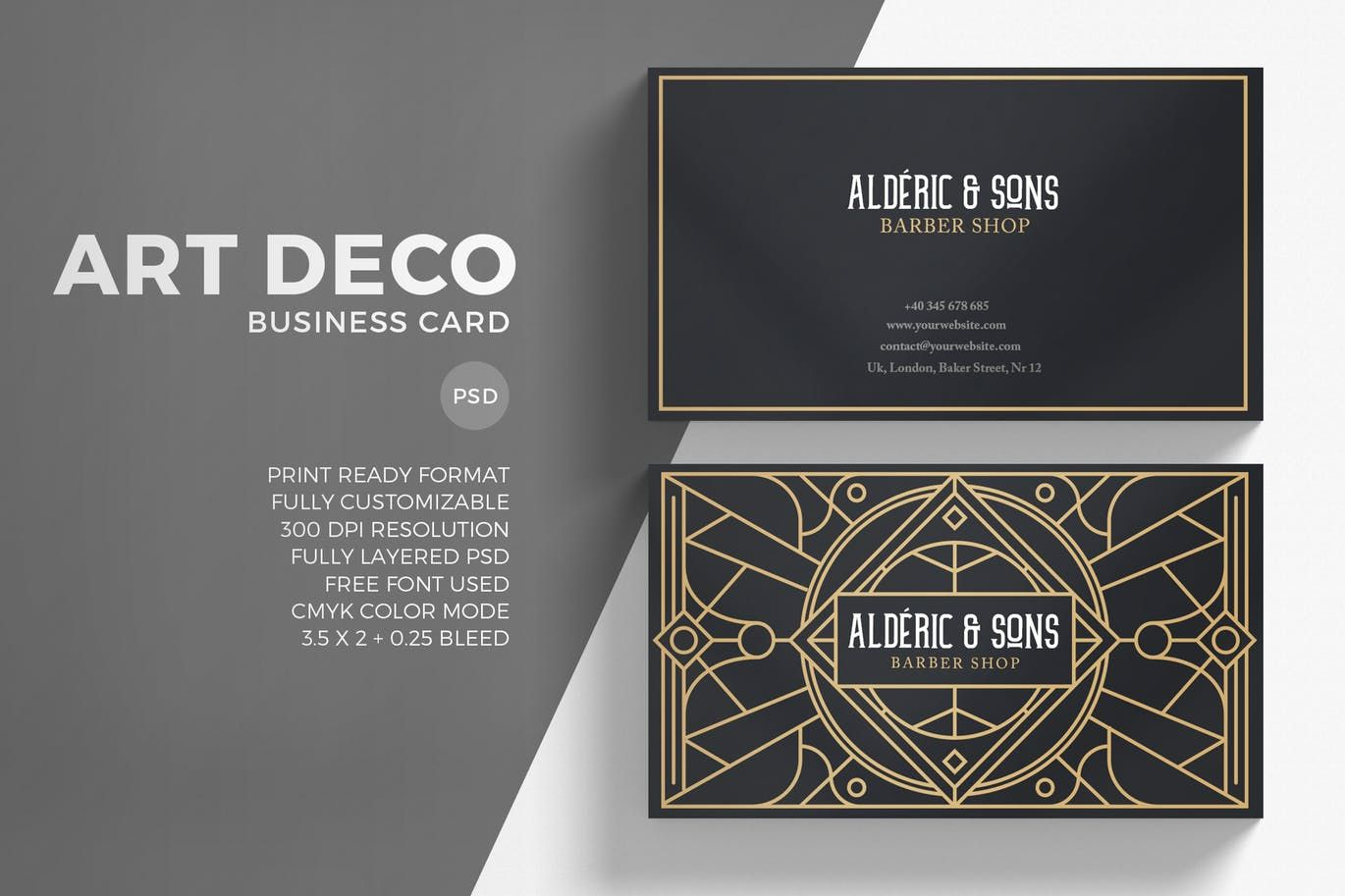 Art Deco Business Card By Eightonesixstudios On Envato Elements Art Deco Business Card Business Card Graphic Art Deco