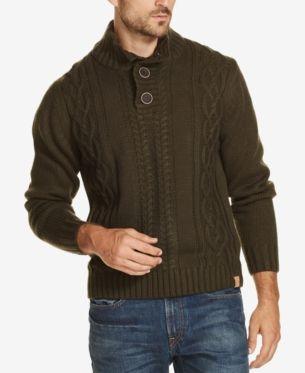 4b8b08033373fe Weatherproof Vintage Men's Button Mock-Neck Sweater - Blue S in 2019 ...