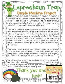 Simple Machines and Leprechaun Traps (adapt to seasons for elves, zombies, cupid, snowman, etc)