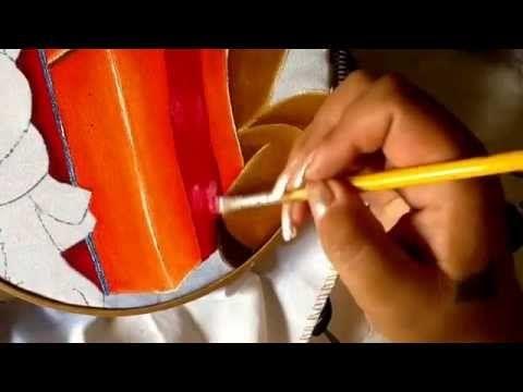 Pintura en tela regalo del reno tres con cony - YouTube