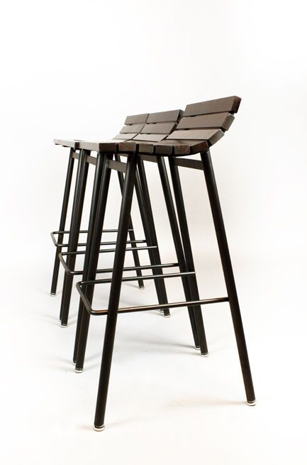 Thomas Hayes Studio Slat Bar Stools In Salvaged Rosewood Banco