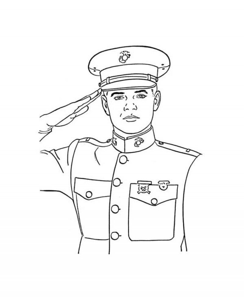 An Officer Giving Veterans Day Salute Coloring Page - Kids ...