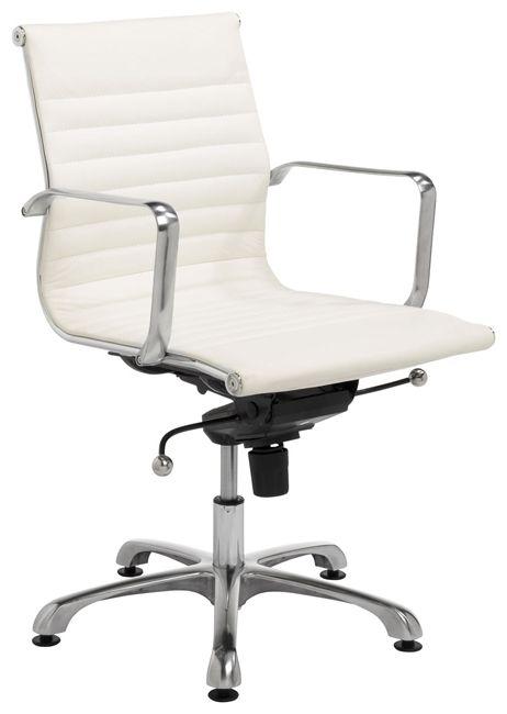 Design bureaustoel, lage rug, wit leder BE-1LRW