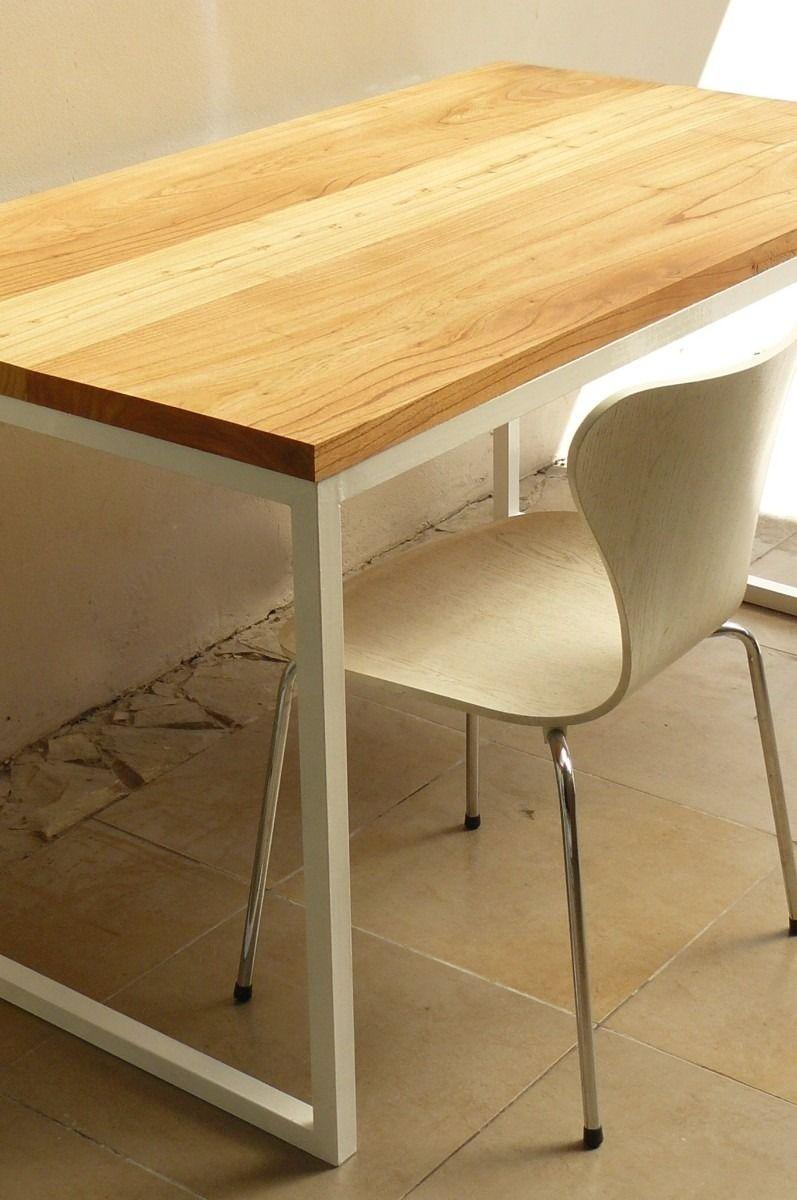 Mesa de comedor de madera maciza paraiso y hierro for Mesas grandes