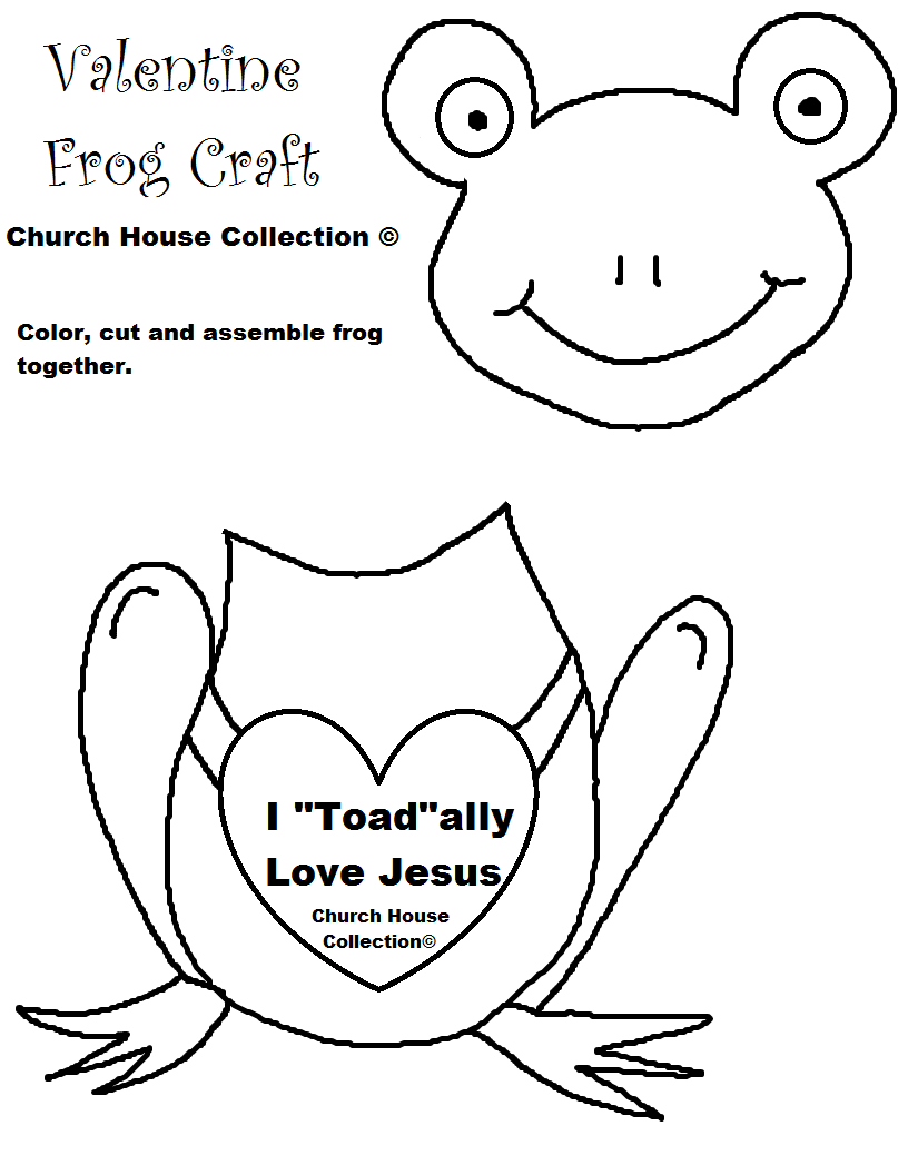 Childrens christian valentine coloring pages - I Toad Ally Love Jesus Frog Valentine Heart Craft Cutout For Kids For Sunday School Children S Church Or At Home