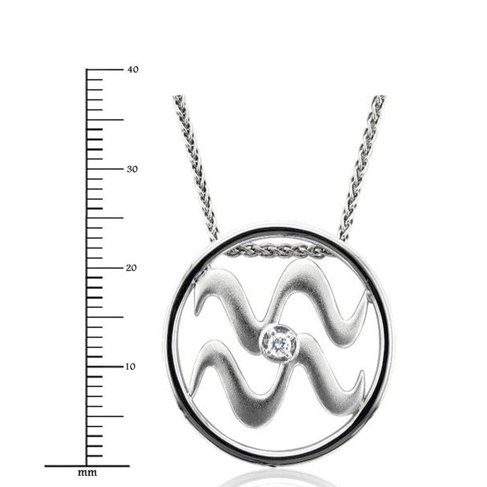Igi certified zodiac sign aquarius silver diamond pendant necklace