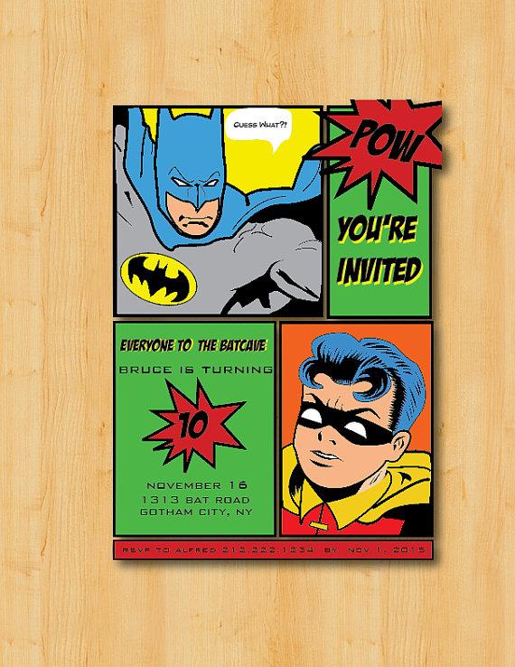 Batman And Robin Birthday Invitation Thank You Digital Printable