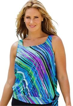 plus size beach belle mystic stripe blouson tankini top | plus