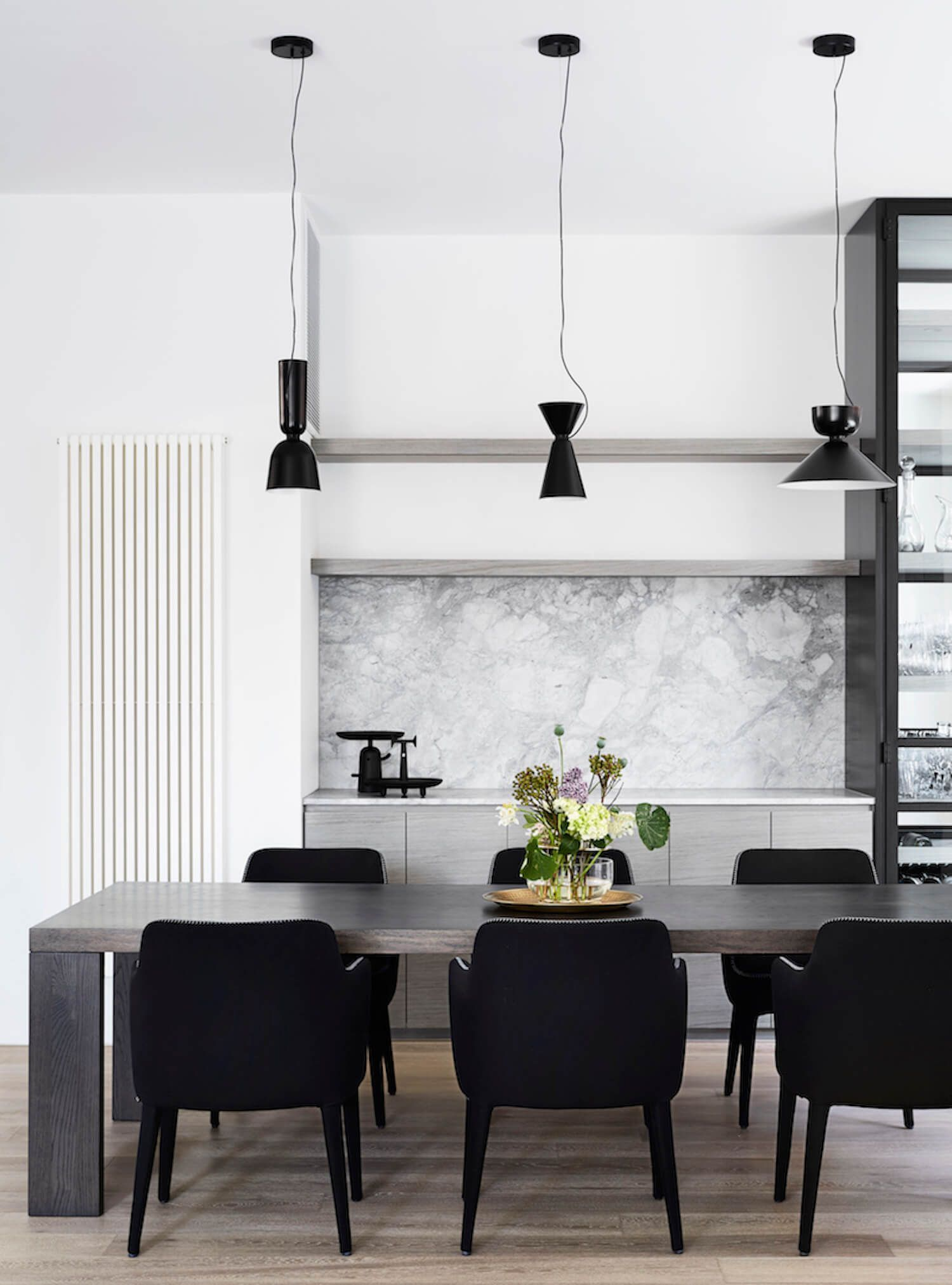 Monochrome Dining Room With Joinery Light Grey Marble Splashback Veneer Cabinets