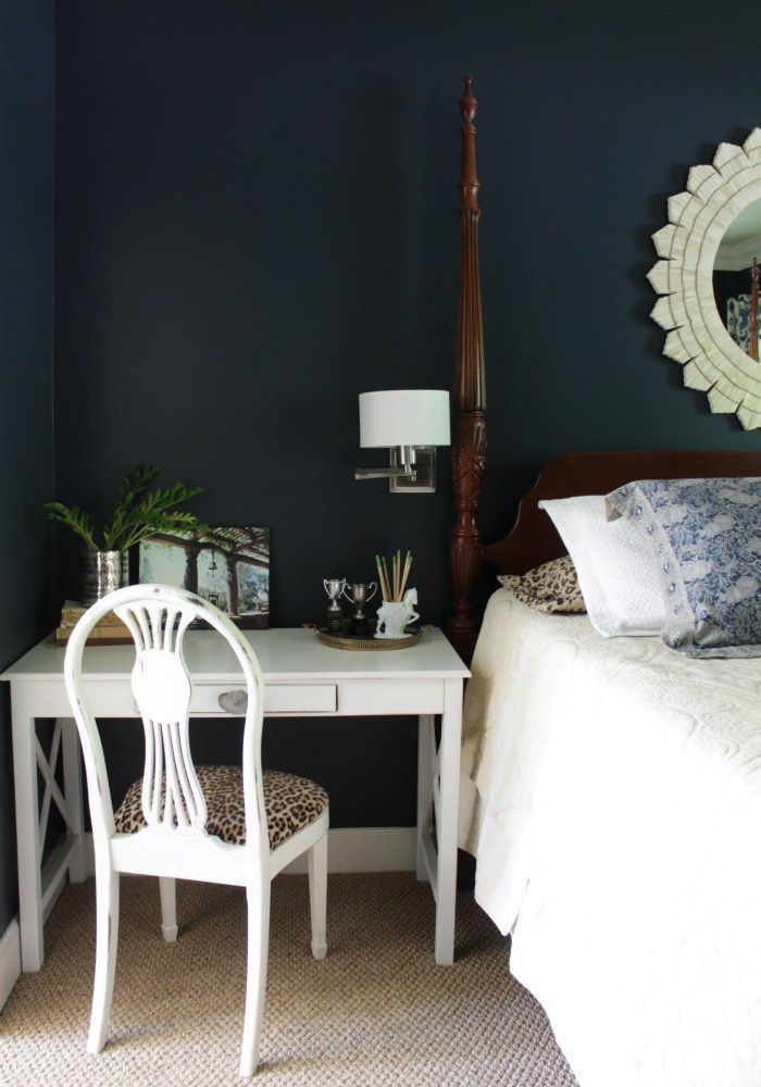 Desk as a nightstand - Master bedroom tour and makeover story - Our