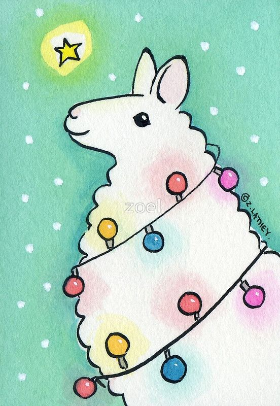 Festive Llama With Christmas Lights Greeting Card By Zoel