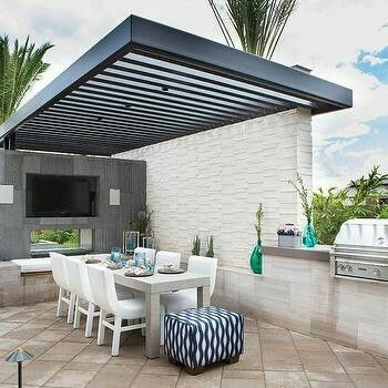Gray Wash Pergola Over Patio With White Outdoor Firpelace   Contemporary    Deck/patio