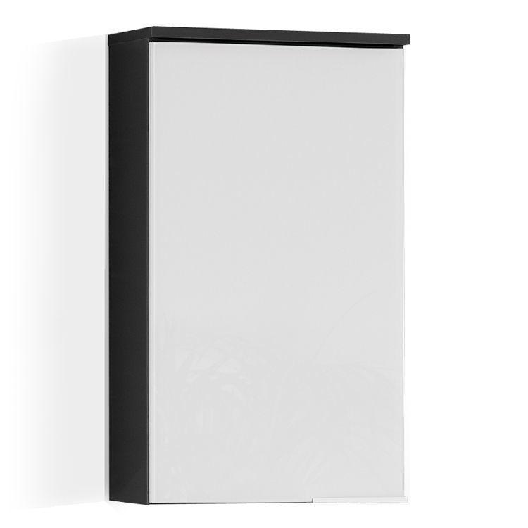 Hängeschrank Kara - Weiß   Anthrazit - Türanschlag links - hängeschrank wohnzimmer weiß