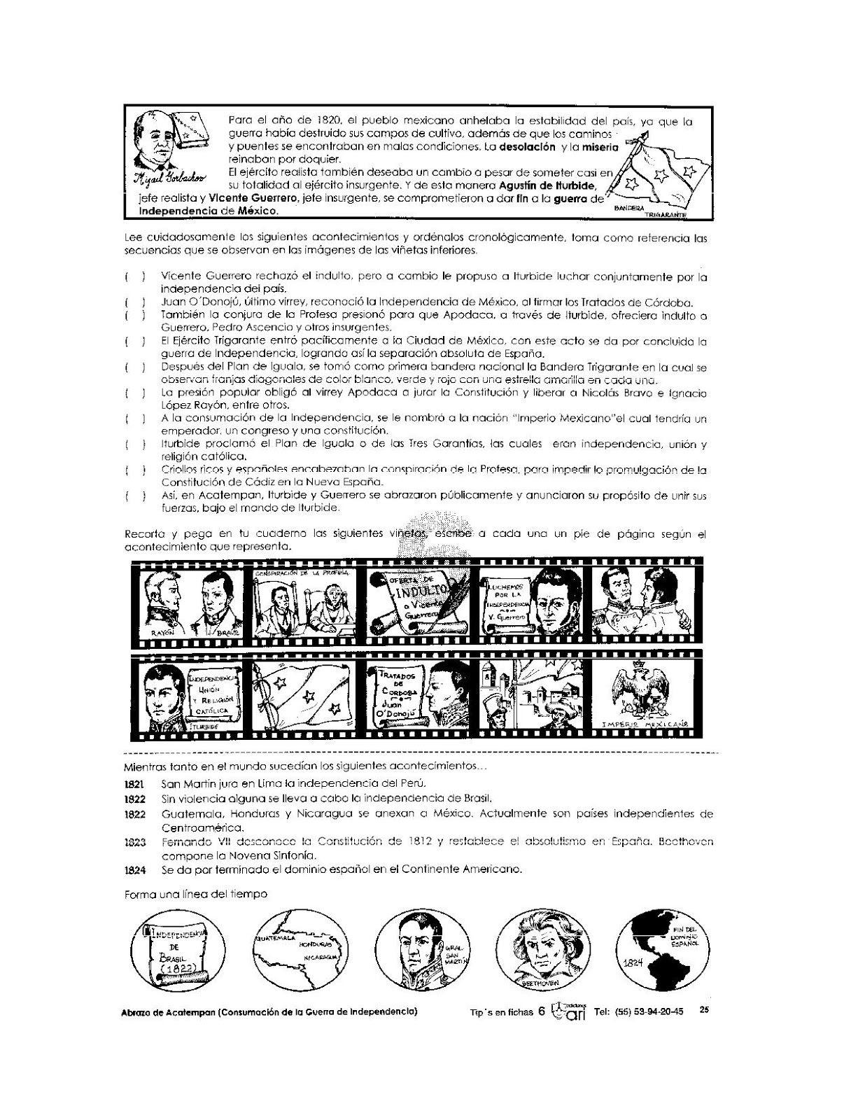 Ejercicio De La Consumacion De La Independencia Para Ninos Ensenanza De La Historia Actividades De Historia Actividades Secundaria