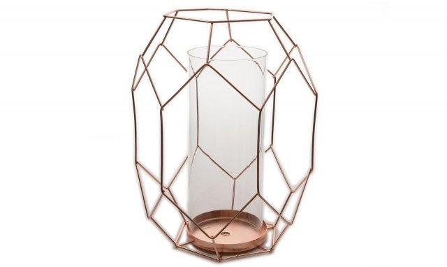 Metal Geometric Candleholder Copper Large 26cm Tealight