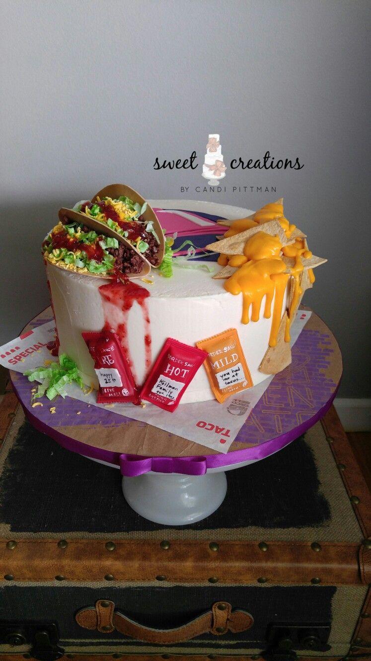 taco bell birthday Taco Bell inspired anniversary cake #sweetcreationsbycandi lemon  taco bell birthday