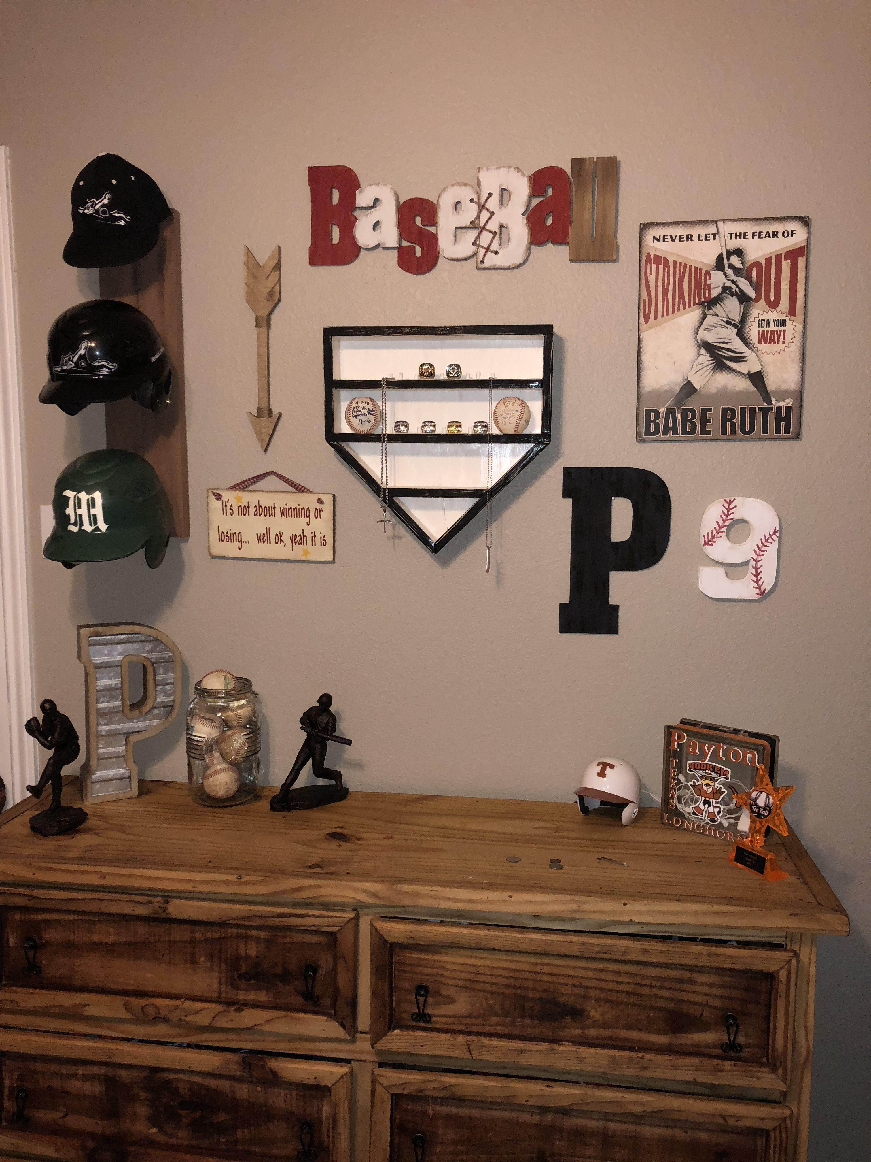 Baseball Wall Decor Homemade Helmet Rack Homemade Home Plate Ring