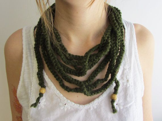 Scarf Necklace / Infinity Scarf - Forest Green by Abrahamsson Co, $25.00