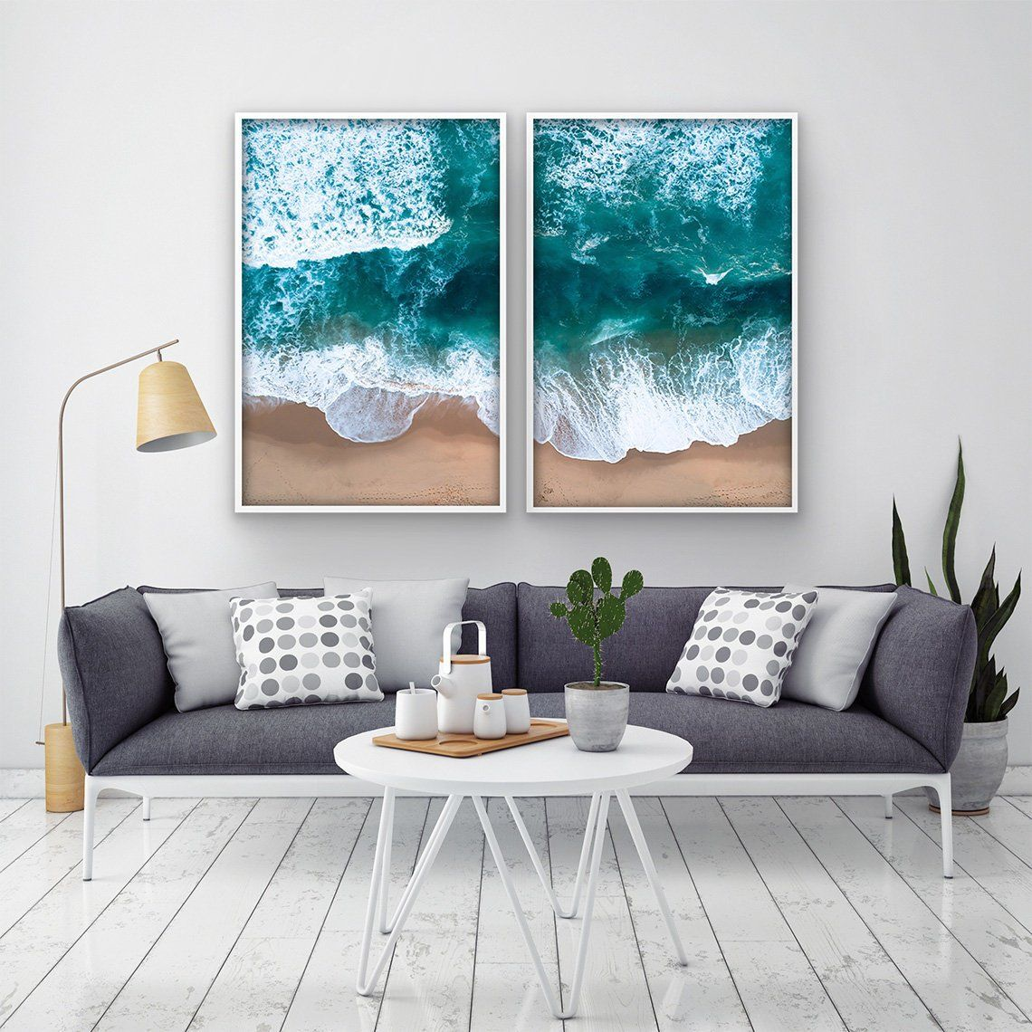 2 Parts Printable Beach Photography Wall Art Seascape Print In