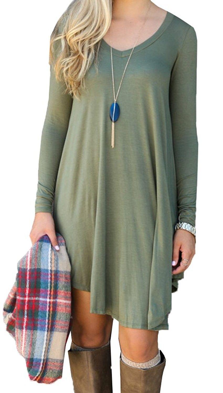 Womens autumn long sleeve casual loose tshirt dress army green