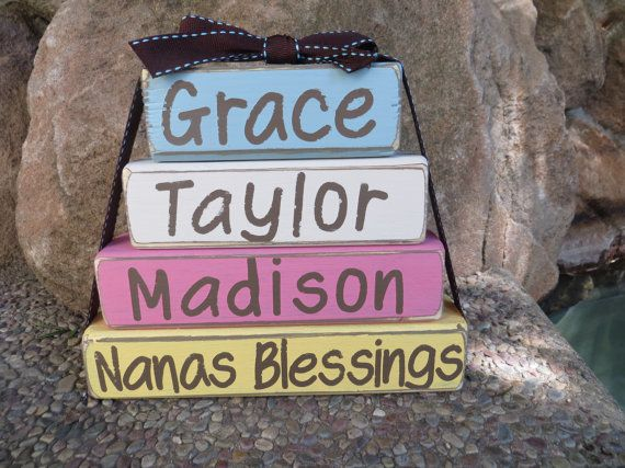 Grandma Nana Gift Mothers Day Block Set  Papa Mom Dad Fathers Day Blessings Gift on Etsy, $13.99