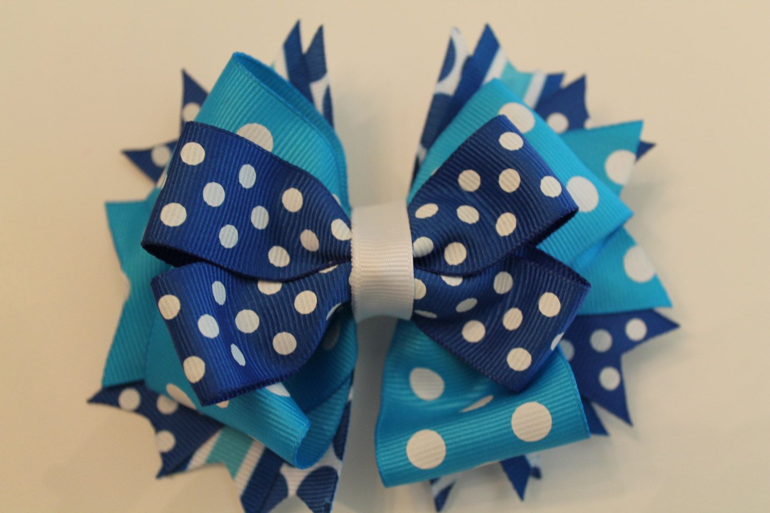 Light Blue and Royal Blue Polka Dot Stacked by LucyGooseBoutique