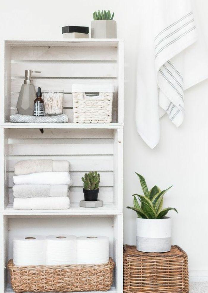1001 id es pour fabriquer une tag re en cagette soi m me rangement salle de bain panier. Black Bedroom Furniture Sets. Home Design Ideas