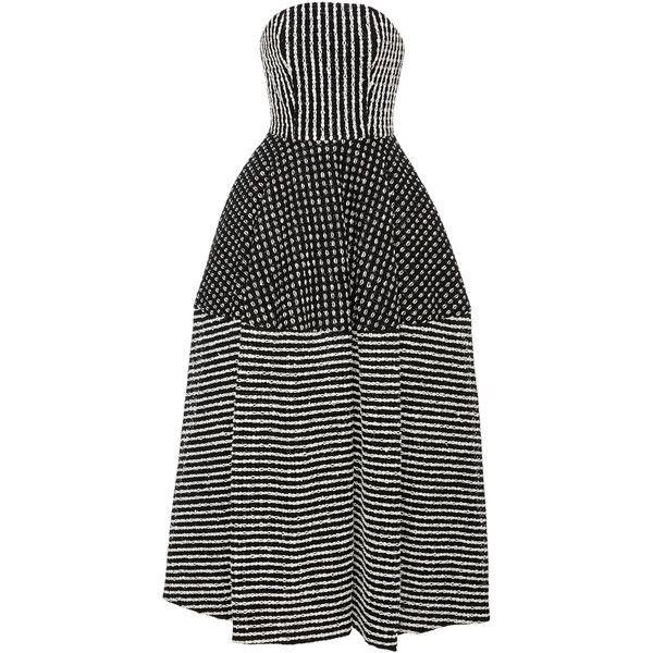 Black Strapless Tea Length Dress