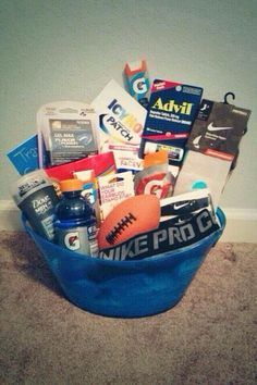 Cool Gift Idea For An Athlete Boyfriend Gift Basket Affordable Christmas Gifts College Gifts